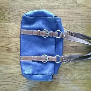COACH pebbled  leather  satchel handbag bag blue